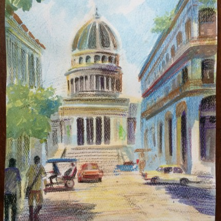 Drawing/painting Havana with Dayann Arce Water colour of Capitolia Old Havana